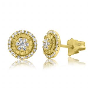 עגילי יהלומים במבצע זהב צהוב 14 קראט