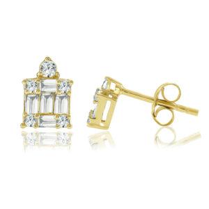 עגילי יהלומים בגטים ועגולים