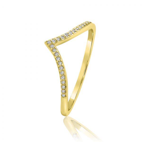 טבעת וי יהלומים זהב צהוב