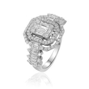 טבעת יהלומים גדולה זהב לבן
