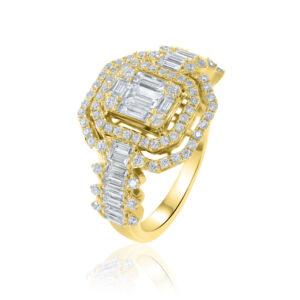 טבעת יהלומים גדולה זהב צהוב