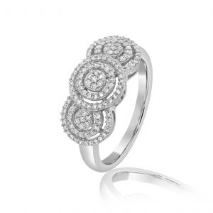 טבעת יהלומים הדר זהב לבן 14 קראט