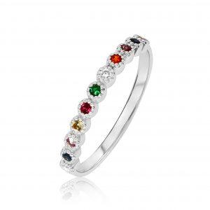 טבעת צבעונית זהב לבן
