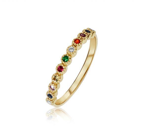 טבעת ריינבואו צבעונית זהב צהוב