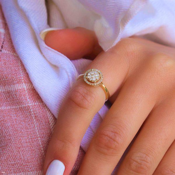 טבעת HALO יהלומים טבעיים