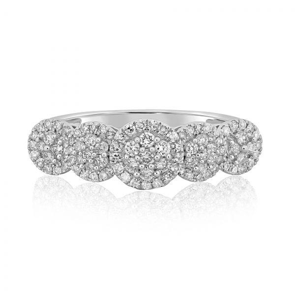 טבעת יהלומים גילי זהב לבן 14 קראט