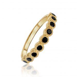 טבעת יהלומים שחורים זהב צהוב 14 קרט