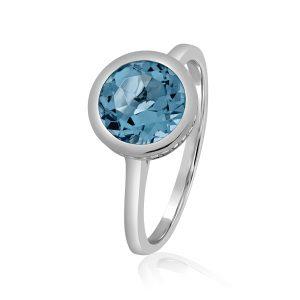 טבעת בלו טופז ויהלומים
