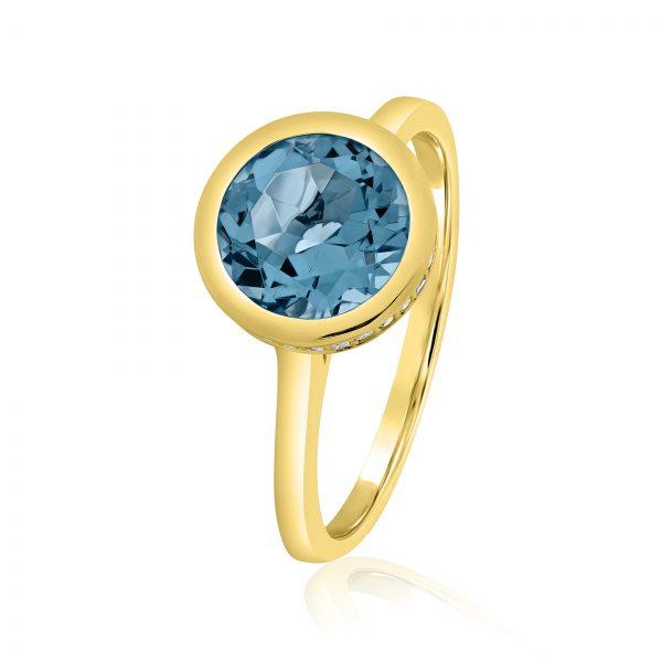 טבעת בלו טופז זהב צהוב