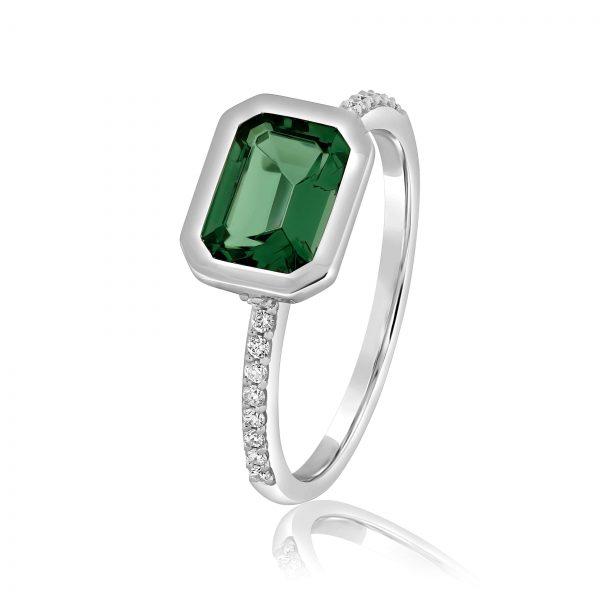 טבעת טופז ירוק ויהלומים זהב לבן