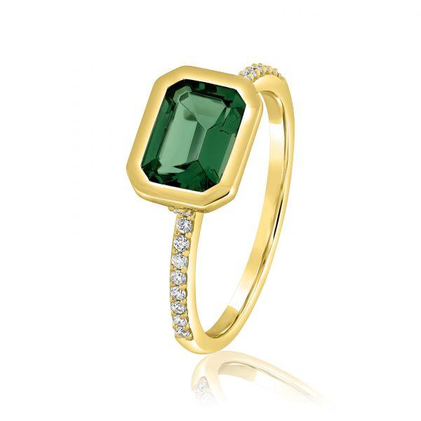 טבעת טופז ירוק ויהלומים זהב צהוב