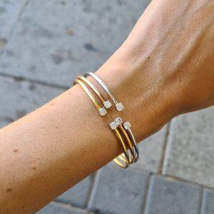 צמיד בנגל יהלומים - זהב 18 קראט