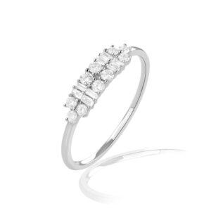 טבעת יהלומים אדל תכשיטי בר-דור זהב לבן