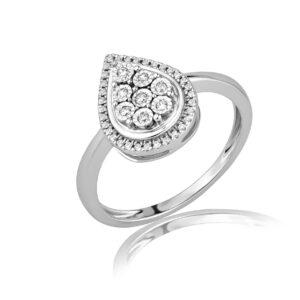 טבעת יהלומים בצורת טיפה זהב לבן