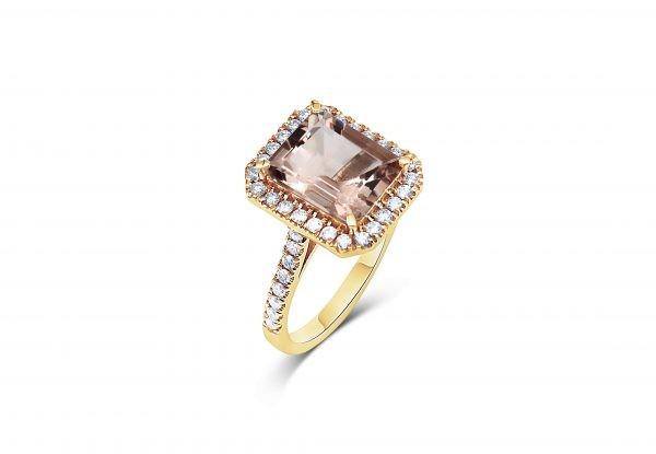 טבעת מורגנייט ויהלומים זהב צהוב