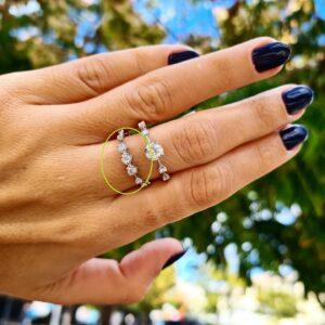 תכשיטי בר-דור טבעת זהב לבן 18 קראט ויהלומים