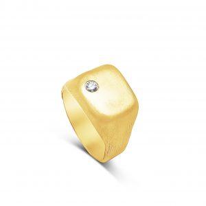 טבעת חותם מלאה משובצת יהלום