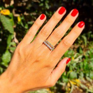טבעת יהלומים שורה חצי איטרניטי