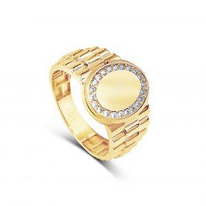 טבעת לגבר זהב צהוב וזרקונים