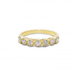 טבעת שורה יהלומים גדולים זהב צהוב1