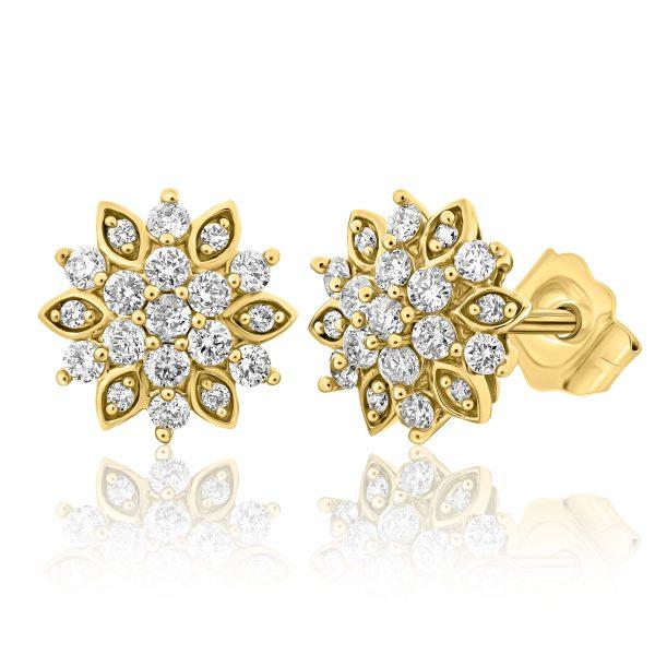 עגילי יהלומים בצורת פרח זהב צהוב