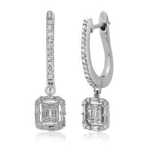 עגילי יהלומים תלויים משובצים יהלומים עגולים ויהלומי בגט זהב לבן
