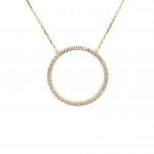 שרשרת ותליון מעגל החיים משובץ בזרקונים זהב צהוב