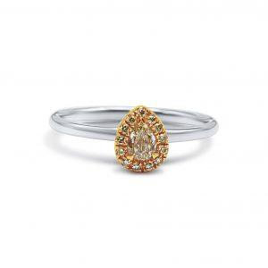 טבעת זהב לבן 18 קראט בצורת טיפה משובצת יהלומים צהובים -1