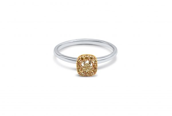 טבעת זהב לבן 18 קראט משובצת יהלומים צהובים תכשיטי בר-דור