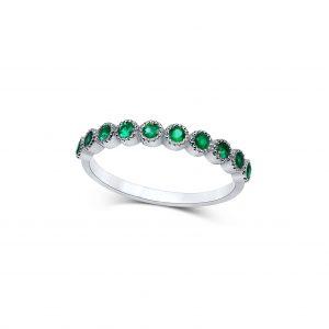 טבעת שורה אבני אמרלד זהב לבן תכשיטי בר-דור