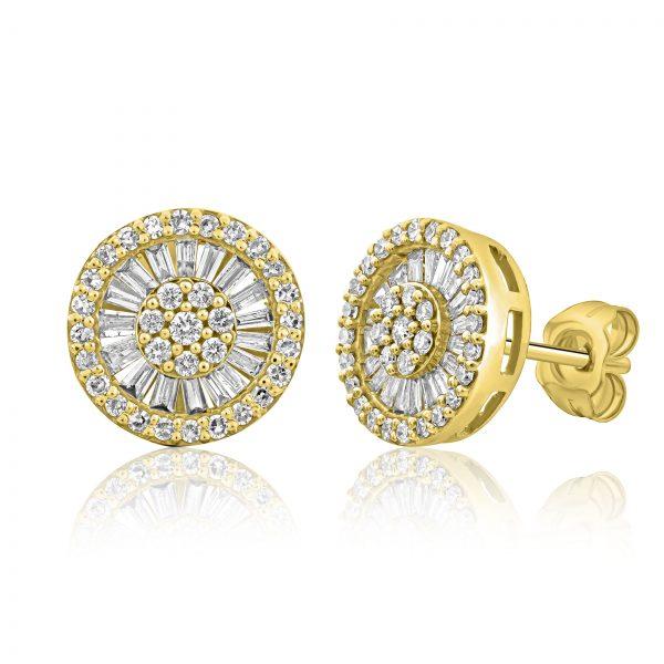 עגילי יהלומים בזהב צהוב צמודים לאוזן משובצים יהלומים עגולים ויהלומים בחיתוך בגט