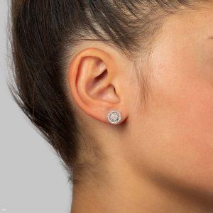 עגילי יהלומים צמודים לאוזן משובצים יהלומים עגולים ויהלומים בחיתוך בגט תכשיטי בר-דור