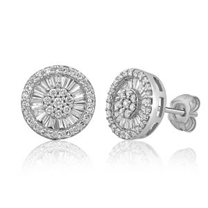 עגילי יהלומים צמודים לאוזן משובצים יהלומים עגולים ויהלומים בחיתוך בגט