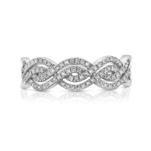 טבעת טוויסט זהב לבן 14 קראט