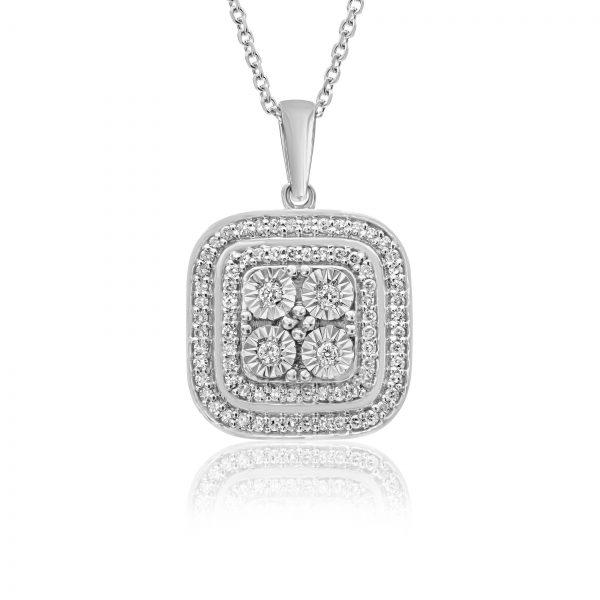 שרשרת יהלומים מרובעת זהב לבן