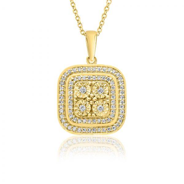 שרשרת יהלומים מרובעת זהב צהוב